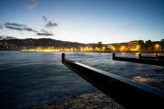 Zmierzch przy portem morskim Diano Marina Liguria Italy obrazy stock