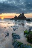 Zmierzch przy Porthcothan zatoką fotografia royalty free