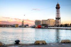 Zmierzch przy Portowym Vell w Barcelona, Hiszpania Zdjęcie Royalty Free