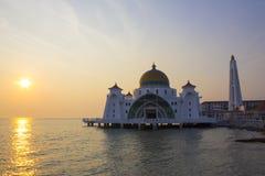 Zmierzch przy selat meczetem Obraz Royalty Free