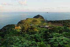 Zmierzch przy smok głową przy Yongmeori wybrzeżem, Ro, Jeju wyspa, Południowy Korea Obrazy Royalty Free