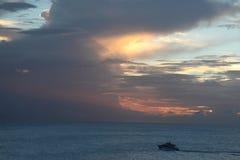 Zmierzch przy St Barthelemy wyspą, Karaiby Zdjęcia Stock