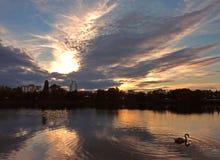 Zmierzch przy Strkovec jeziorem Obrazy Royalty Free