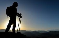 Zmierzch przy szczytem góra Fotografia Stock