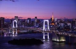 Zmierzch przy Tokio zatoką Zdjęcie Royalty Free
