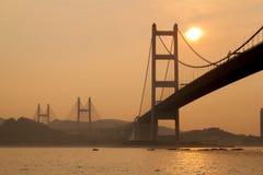 Zmierzch przy Tsing Ma mostem, Hong Kong Fotografia Stock