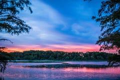 Zmierzch przy zim ćwiartkami Luizjana Obraz Stock
