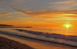 Zmierzch, Redondo plaża, Los Angeles, Kalifornia fotografia stock