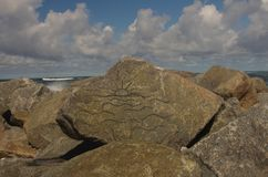 Zmierzch rzeźbił w skałę Zdjęcia Royalty Free