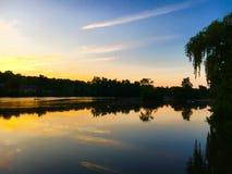 Zmierzch rzeka Obrazy Royalty Free