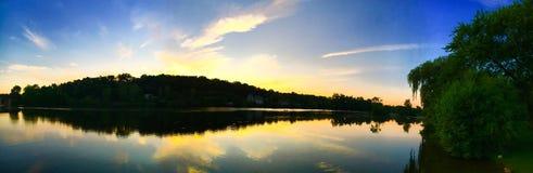 Zmierzch rzeki panorama Obraz Stock