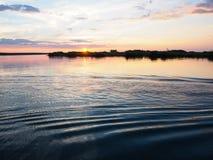 Zmierzch scena przy brzeg rzeki z wodną czochrą i słodkim kolorem Obrazy Stock