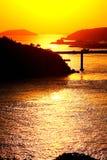 Zmierzch sceneria Dongtou wyspy okręg administracyjny fotografia stock