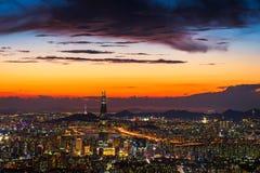 Zmierzch Seul miasta linia horyzontu najlepszy widok Południowy Korea Zdjęcie Stock