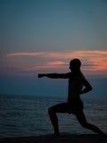 Zmierzch sylwetka mężczyzna ćwiczy sztuki samoobrony Zdjęcie Royalty Free