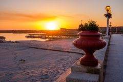 Zmierzch Vila Praia De Ancora Zdjęcie Royalty Free