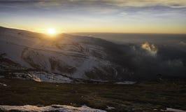 Zmierzch w śniegu - Atardecer en los angeles nieve obraz stock