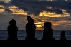 Zmierzch w Ahu Tahai, Wielkanocna wyspa, Chile Obraz Stock