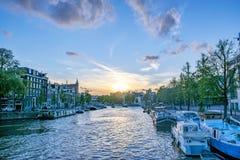 Zmierzch w Amsterdam zdjęcie stock