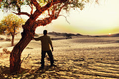 Zmierzch w Badanu Jaran pustyni Obrazy Royalty Free
