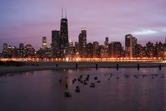 Zmierzch w Chicago obraz stock