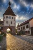 Zmierzch w Endingen, mały Niemiecki miasteczko w Szwabskich Alps, 4 08 201 Obrazy Royalty Free