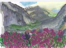 Zmierzch w górach ilustracja wektor