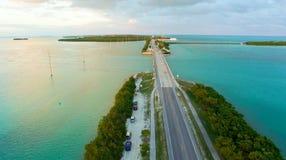 Zmierzch w Islamorada, Floryda most nad morzem Fotografia Royalty Free