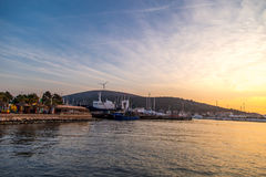 Zmierzch w jachtu Marina w Cesme Fotografia Stock