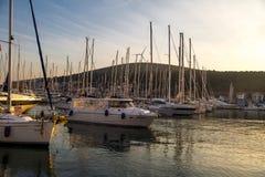 Zmierzch w jachtu Marina w Cesme Obraz Royalty Free