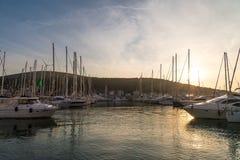 Zmierzch w jachtu Marina w Cesme Zdjęcie Royalty Free