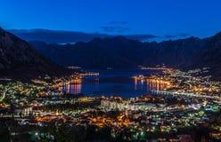 Zmierzch w Kotor boka zatoce Obrazy Stock