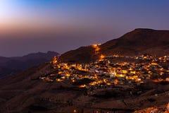 Zmierzch w małej wiosce w Jordania obrazy royalty free