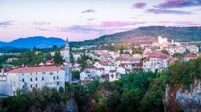Zmierzch w małym Chorwackim grodzkim Pazin Obraz Stock