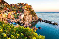 Zmierzch w Manarola, Cinque Terre, Włochy Obraz Stock