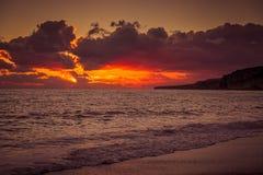 Zmierzch w morzu, Cypr zdjęcie royalty free