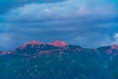 Zmierzch w niebie Montenegro Zdjęcie Royalty Free