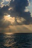 Zmierzch w oceanie indyjskim Maldives Obraz Royalty Free