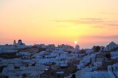 Zmierzch w Oia wiosce, Santorini wyspa obrazy royalty free