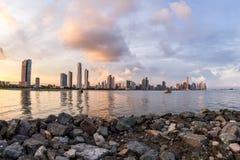 Zmierzch w Panamskim mieście, Panama Fotografia Stock