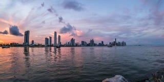 Zmierzch w Panamskim mieście, Panama Obrazy Royalty Free