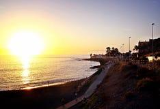 Zmierzch w plaży Tenerife, wyspy kanaryjska obrazy royalty free