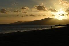 Zmierzch w Puerto Del Carmen na Lanzarote wyspie kanaryjska w Hiszpania Obraz Royalty Free