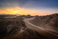 Zmierzch w pustyni Obrazy Royalty Free