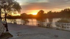 Zmierzch w rzece Zdjęcie Royalty Free