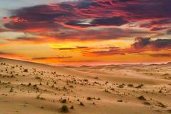 Zmierzch w saharze, Maroko obraz stock