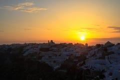 Zmierzch w Santorini wyspie, Grecja obraz stock