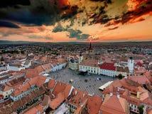 Zmierzch w Sibiu Hermannstadt Rumunia Zdjęcie Stock