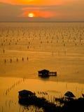 Zmierzch w Songkhla jeziorze zdjęcie stock