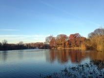 Zmierzch w spadku przy Gałęziastym Strumyk jeziorem przy Gałęziastym strumyka parkiem Zdjęcia Royalty Free